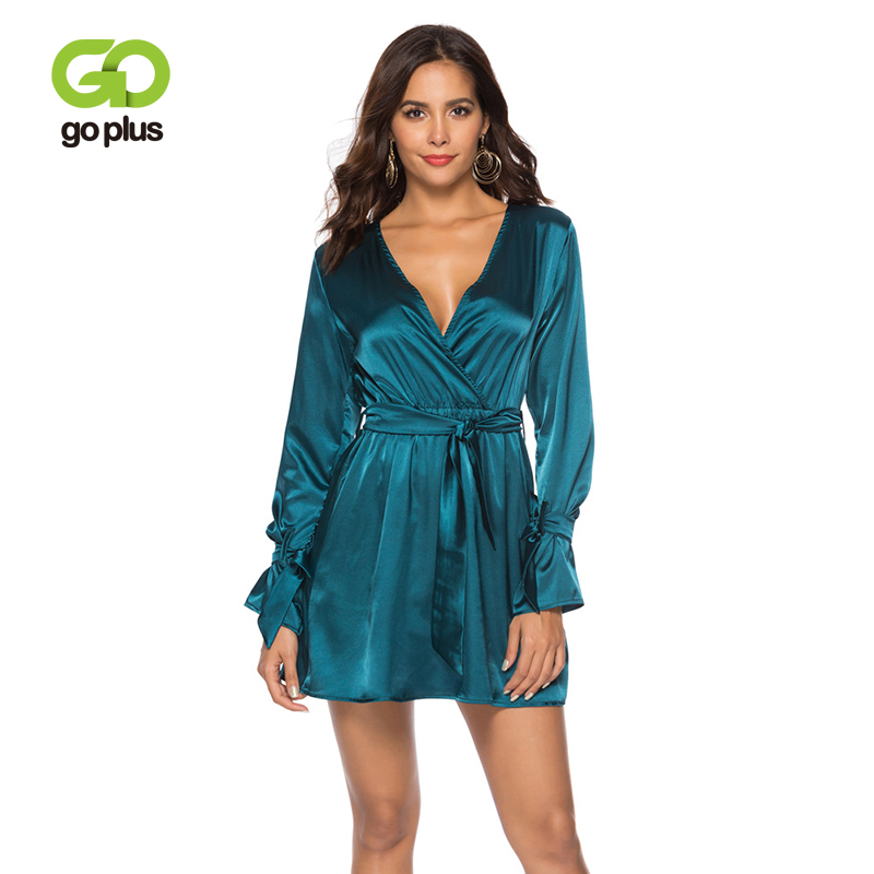 Goplus Spring And Autumn New Deep V-Neck Horny Attire Occasion Night time Membership Gown 2019 Flared Sleeves Women Mini Gown C6873