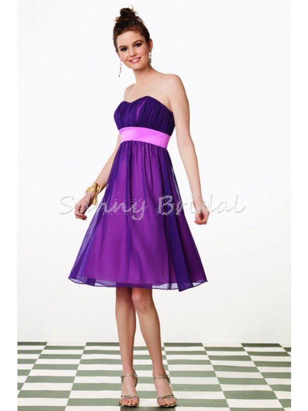 Free Shipping Strapless Little Pink Bridesmaid Dress with Purple ...