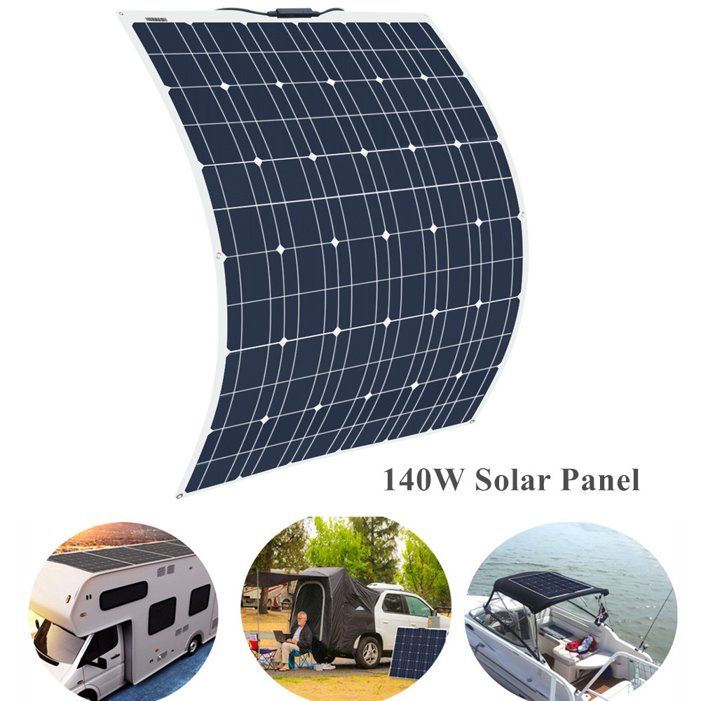 140W 18V Flexible <font><b>Solar</b></font> <font><b>Panel</b></font> <font><b>150w</b></font> Monocrystalline Cells Module <font><b>Solar</b></font> Charger For Car Home RV Yatch Boat Battery 12V charger image