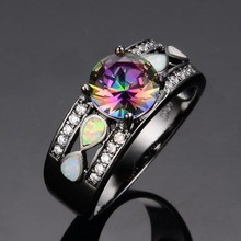 JUNXIN Fashion Jewelry Women Wedding Rainbow Opal Rings Colorful CZ 10KT Black Gold Filled Engagement Ring RB0264