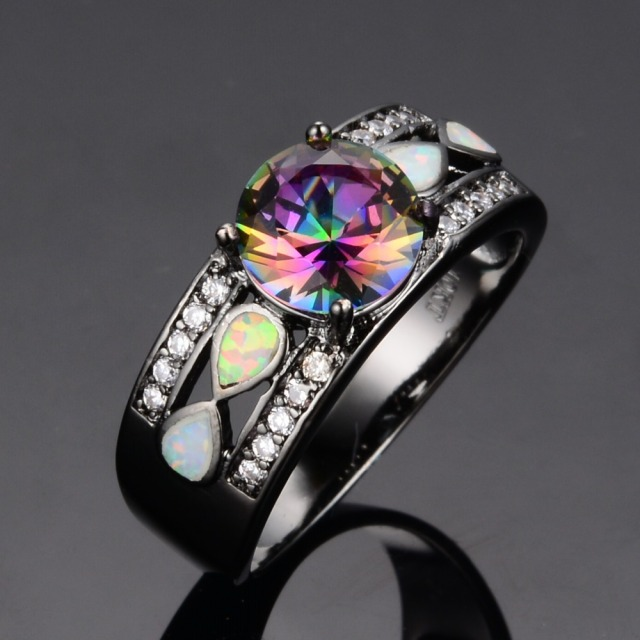Fashion Women Wedding Rainbow Opal Rings Colorful CZ 10KT Black Gold Filled Engagement Ring