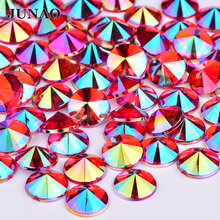 JUNAO – Strass en cristal AB rouge 4 5 6 10mm, pierres rondes Rivoli à dos plat en acrylique pour décoration, gemmes en cristal pour grammes