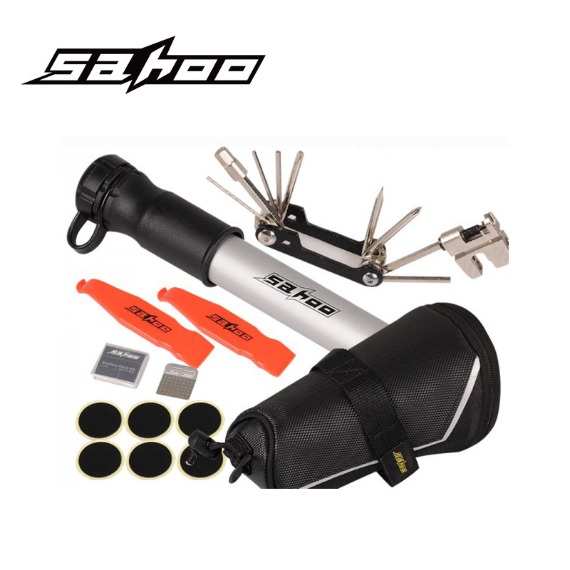 SAHOO Bike Repair Tool Kits MTB Road Bicycle Tools Kits Sets Bike Saddle Bag + Mini Pump Hose + 11in 1 Bicycle Tools Accessories