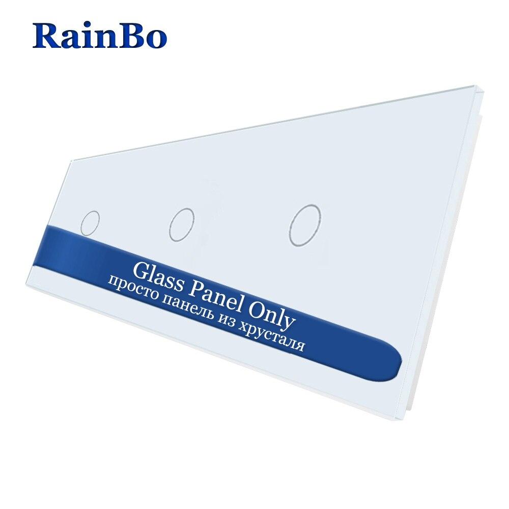 RainBo livraison gratuite panneau de commutateur mural en verre cristal de luxe 222mm * 80mm EU panneau de verre Standard pour accessoires de bricolage A39111W/B1RainBo livraison gratuite panneau de commutateur mural en verre cristal de luxe 222mm * 80mm EU panneau de verre Standard pour accessoires de bricolage A39111W/B1