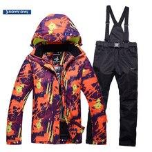 Мужской лыжный костюм водостойкий ветрозащитный 10000 теплый утолщение 2018 новый зимний открытый лыжный пиджак и нагрудник лыжные брюки мужские модели