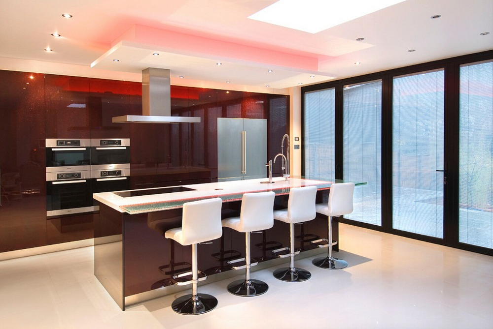 2019 newest design high gloss lacquer kitchen cabinets red color modern 2PAC kitchen furnitures L1606086