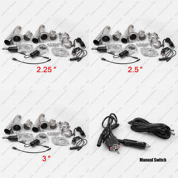 """Ryanstar 2.25\"""" 2.5\"""" 3\"""" 2xCut Out Remote Control/Manual Switch Stainless Steel Y Headers Pair Electric Exhaust Cutout Pipe Kit"""