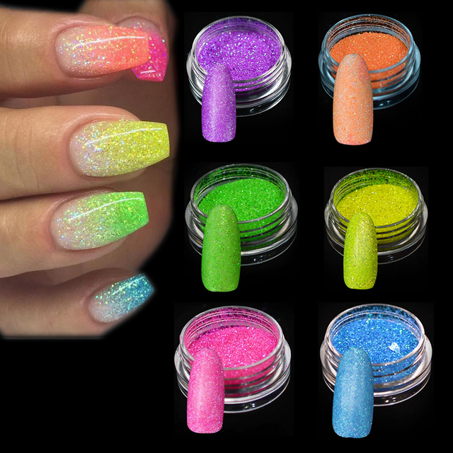 1g Fluorescent Sugar Nail Art Glitters Powder Dust Sandy Sequins Iridescent Flakies Glitter Decoration Tips Manicure JIYG01-06