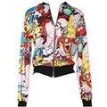 Новая Осень Мода Печати Куртки Мультфильмы Печатных женщин Пальто Весна Пальто Плюс Размер S-XL