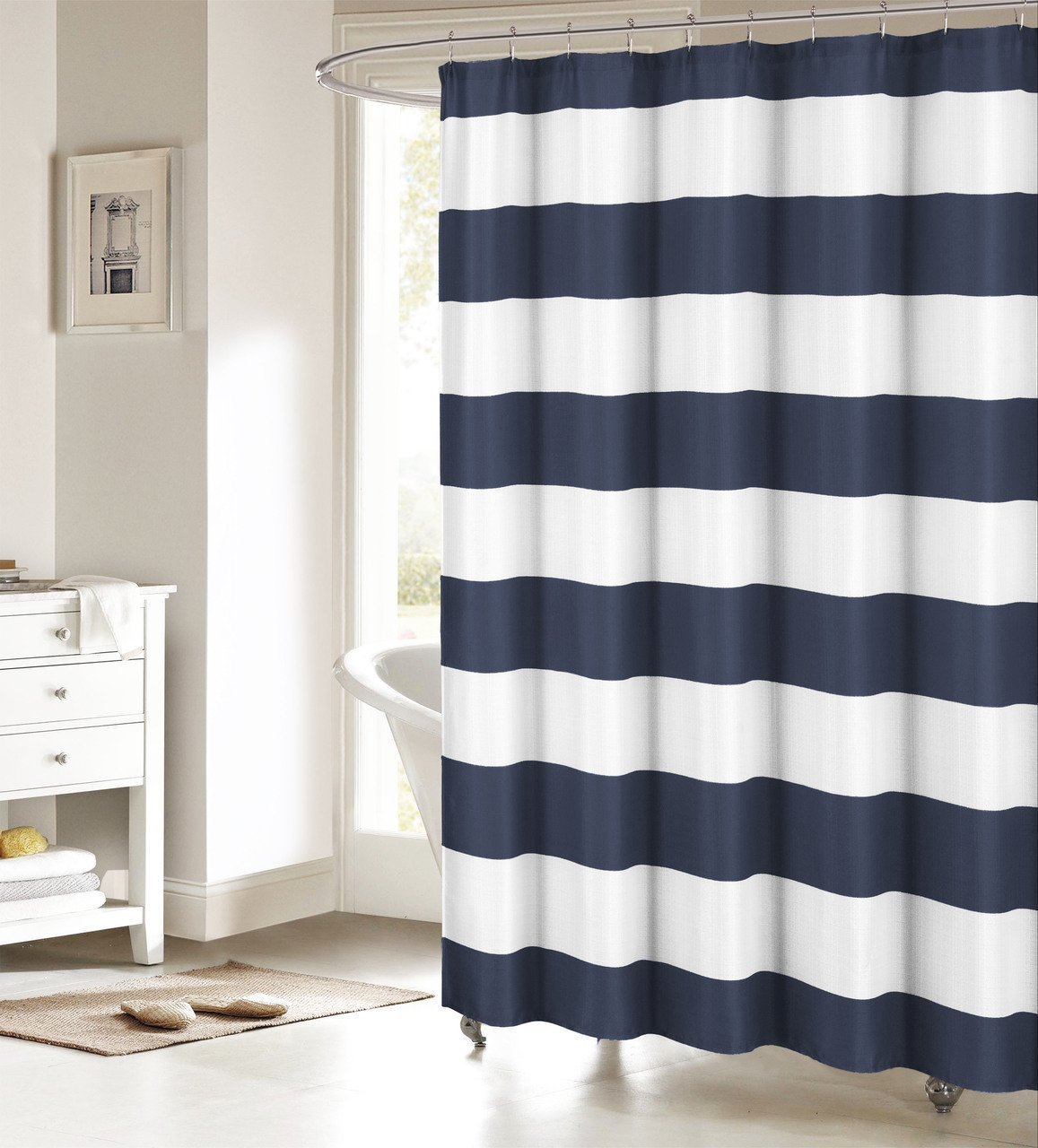 Online Get Cheap Navy Shower Curtains Aliexpresscom Alibaba Group - Brown and white striped shower curtain