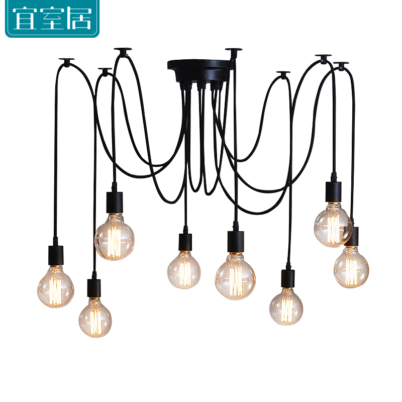 Black Spider Chandelier Lamp Vintage Retro Pendant Lamps E27 E26 Edison Creative Loft Art Decorative DIY Chandelier Light 10 lights creative fairy vintage edison lamp shade multiple adjustable diy ceiling spider pendent lighting chandelier 10 ligh