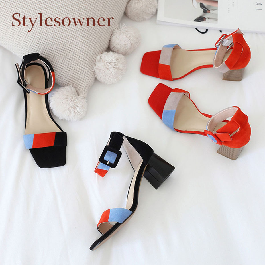 Stylesowner square toe chunky high heel women sandals mixed color suede open toe 5cm heel gladiator sandals korean style shoes