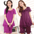 Sexy women cool summer short-sleeved silk pajamas nightgown big yards free home delivery