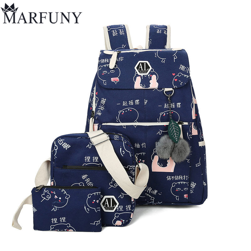 Schoolbag For Teenager Girls 2018 Printing Canvas School Bags 3 Pcs/Set Backpack Children Travel Bags Student Pink Book Bag Cute 3 pcs set fashion canvas printing backpack women school bags for teenage girls cute book bag travel satchel rucksack