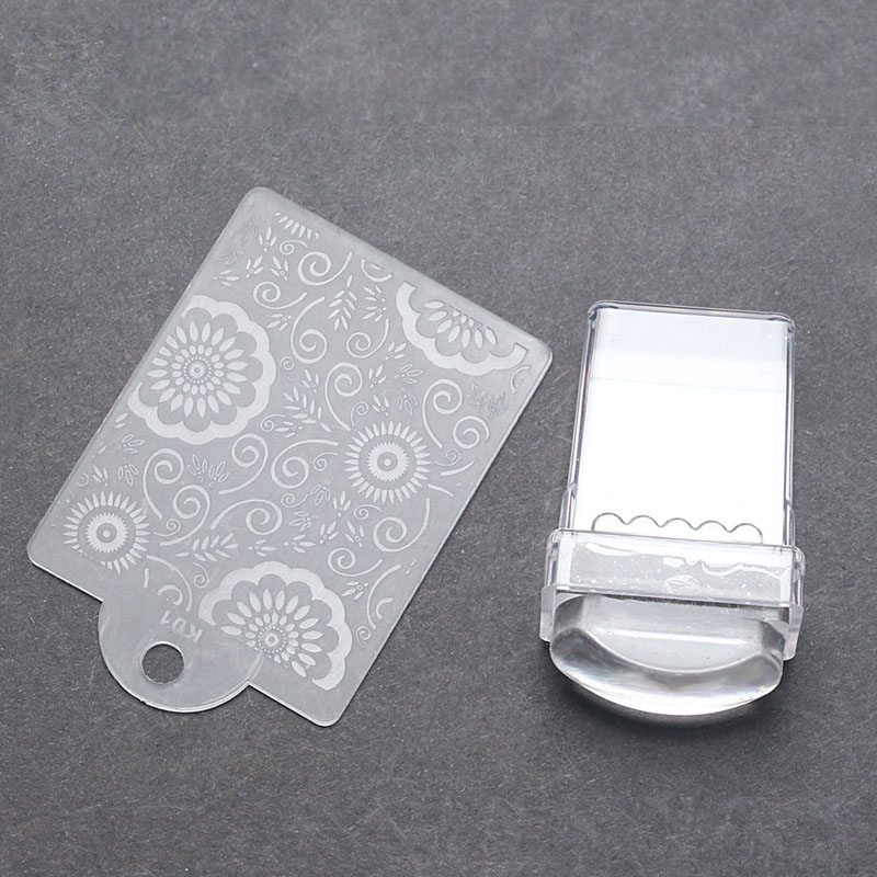 Ny Nail Art Stamper Plast Mall Plattor Skrapa Clear Transparent Jelly Silicone Handle Scraper DIY Square Stamp Tool