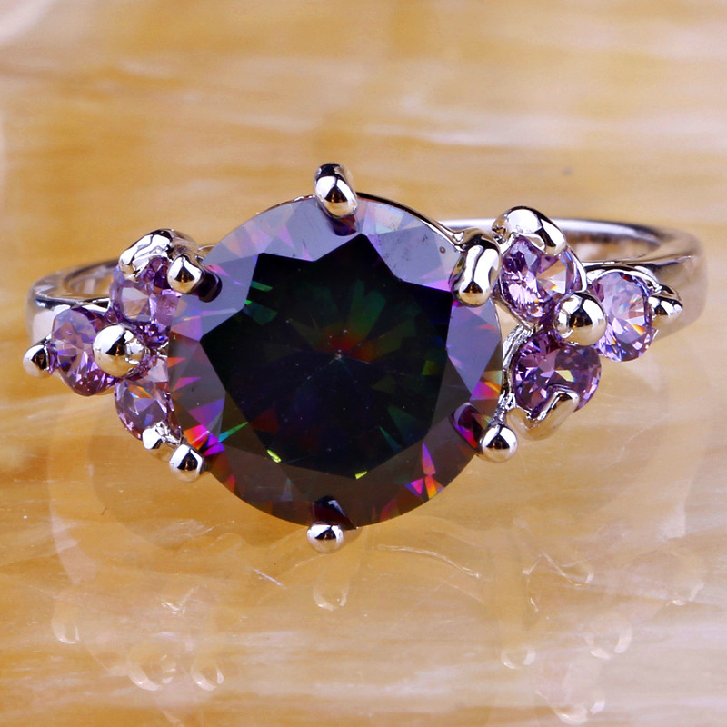 Mysterious Purple Rainbow CZ Stone Silver Color Ring