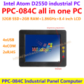All In One Computer 8.4inch Intel atom D2550 industrial panel pc with resistance touch screen 32G SSD 2G RAM 2x RJ45 4xUSB 4xCOM