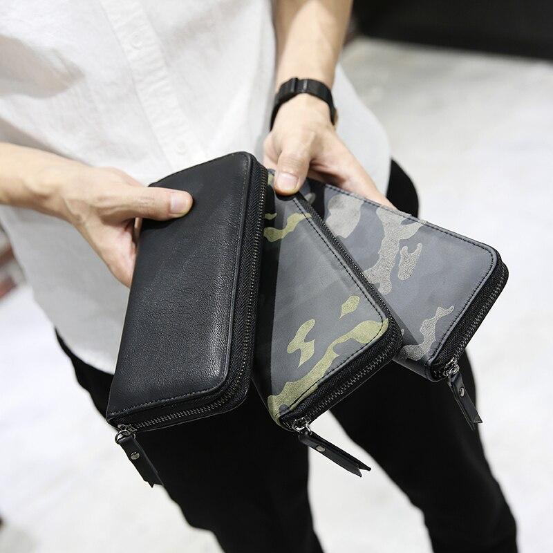 Men Wallets Clutch Money Purse Wallet Large Capacity Long Card Holder Zipper Design Mens Clutch Purse Hasp Wallet