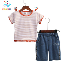 2019 Toddler boy 2Pcs clothing set  Kids Baby  boy  Top Black Stripe design with Frog eye Outfit T-Shirt With Short Pant clothes 2pcs toddler kids baby boy girl clothes set 2017 summer short sleeve cotton t shirt top shorts hot pant outfit children clothing