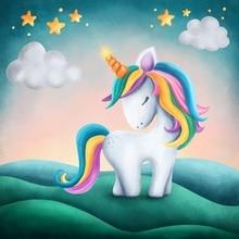 Laeacco Golden Star Unicorn Birthday Party Baby Newborn Portrait Poster Photo Backdrops Backgrounds Photocall Studio
