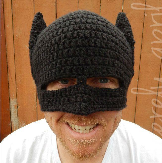Novedad Winter Beanie Ganchillo Hecho A Mano Fresco Batman Máscara Casco EarFlap Sombreros Para Mujer Para
