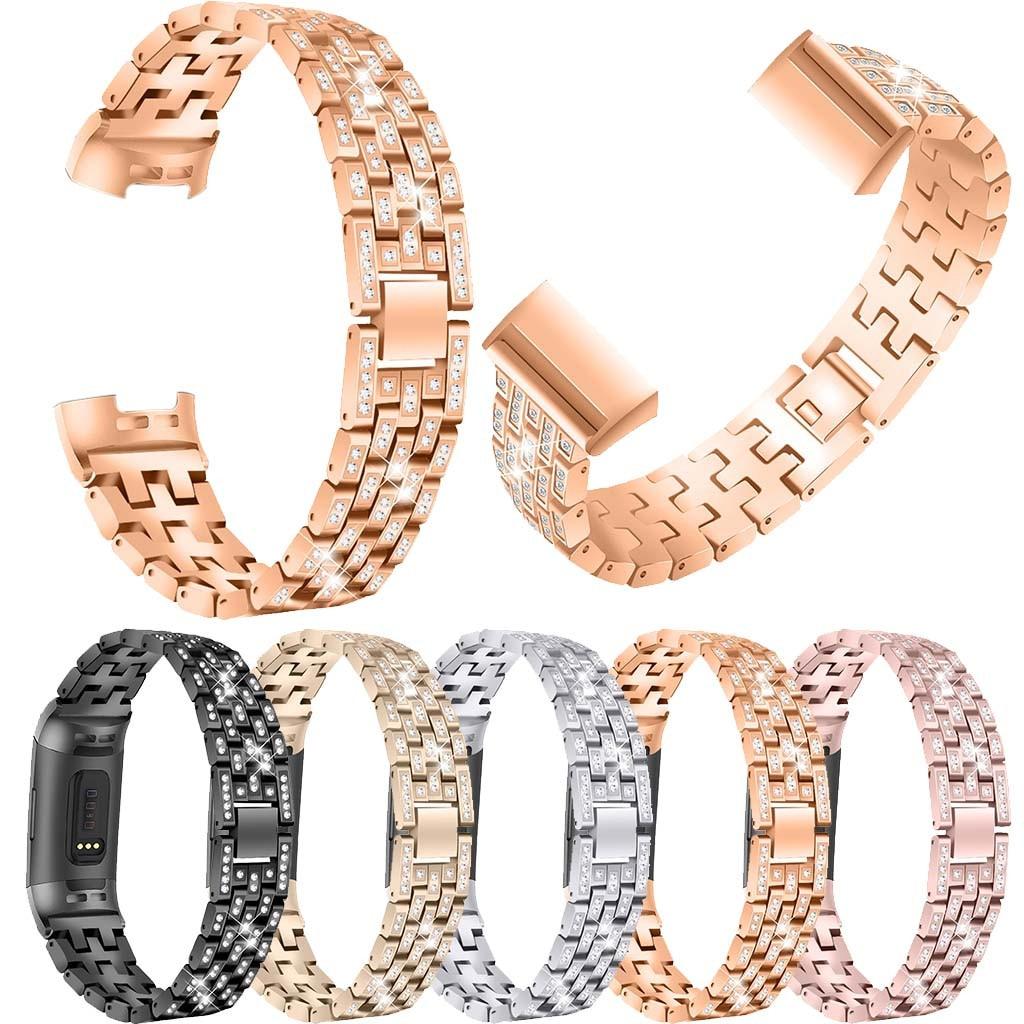 e60113acda6e Pulsera de Metal de acero inoxidable Bling Correa pulsera de fitness para  Fitbit Charge 3 reloj ...
