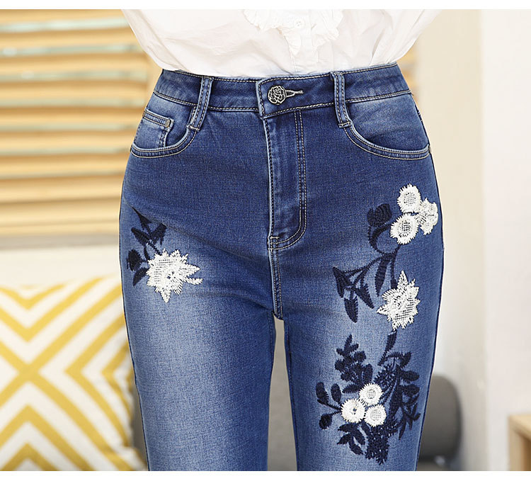 KSTUN FERZIGE Women Jeans High Waist Bell Bottoms High Waist Winter Heat Insulated Thickness Embroidery Mom Denim Slim Pants Flared 17