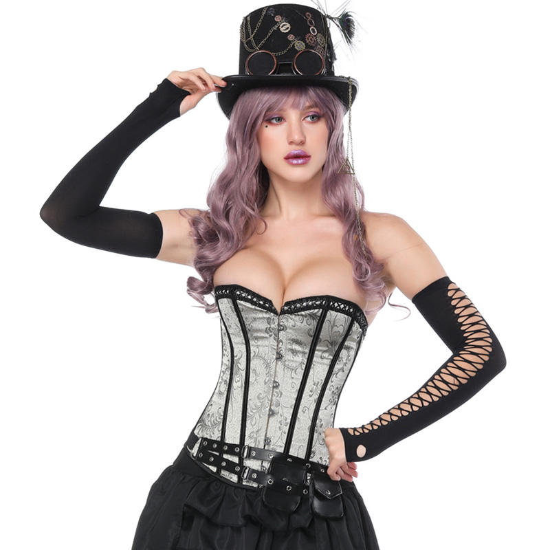 Sexy Plus Size S-6XL   Corset   Women Gray Satin Steel Boned Underbust   Corset   Gothic Lace Up   Bustier     Corset
