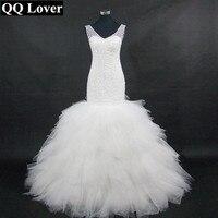 Arabic Style Plus Size Wedding Dresses 2016 Deep V Neck Beading Layers Mermaid Wedding Gowns Chapel