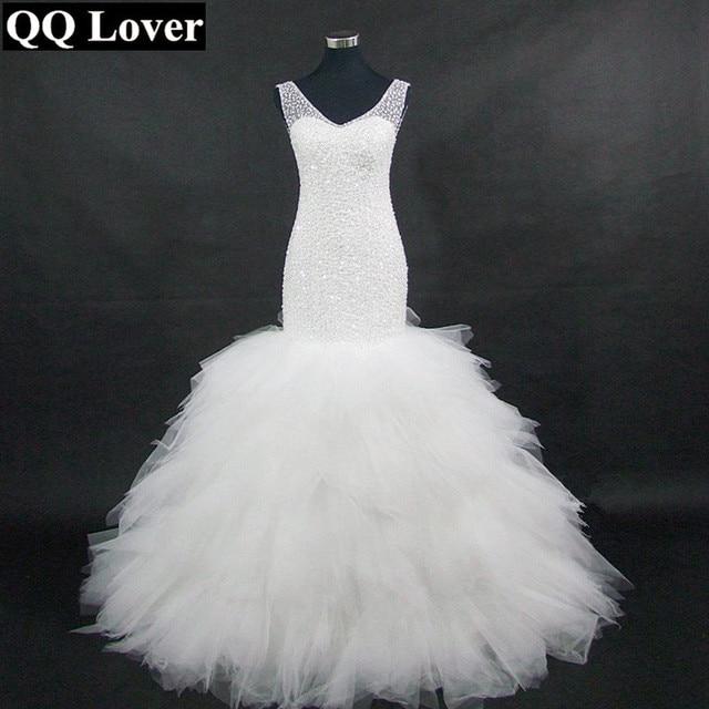 c6bdf883b8a6 QQ Lover Arabic Style Wedding Dress 2019 Deep V Neck Beading Layer Mermaid  Wedding Chapel Train Beach Bridal Dress