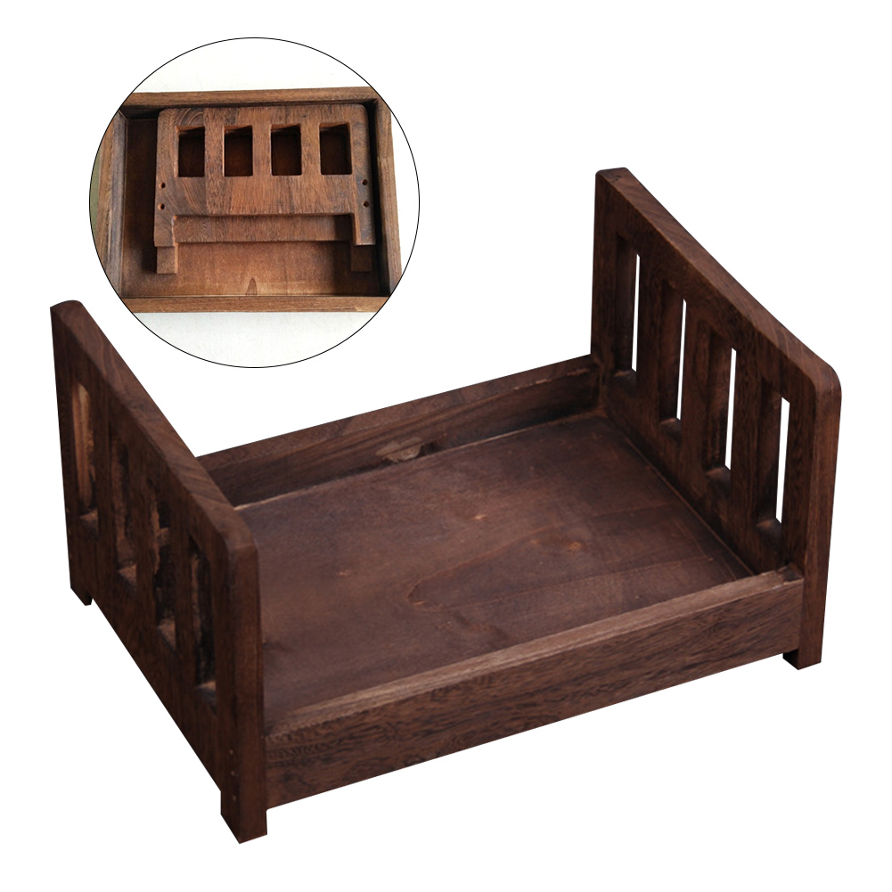 Detachable Wood Bed Crib Studio Props Infant Photo Shoot Accessories Basket Gift Posing Baby Photography Newborn Background Sofa