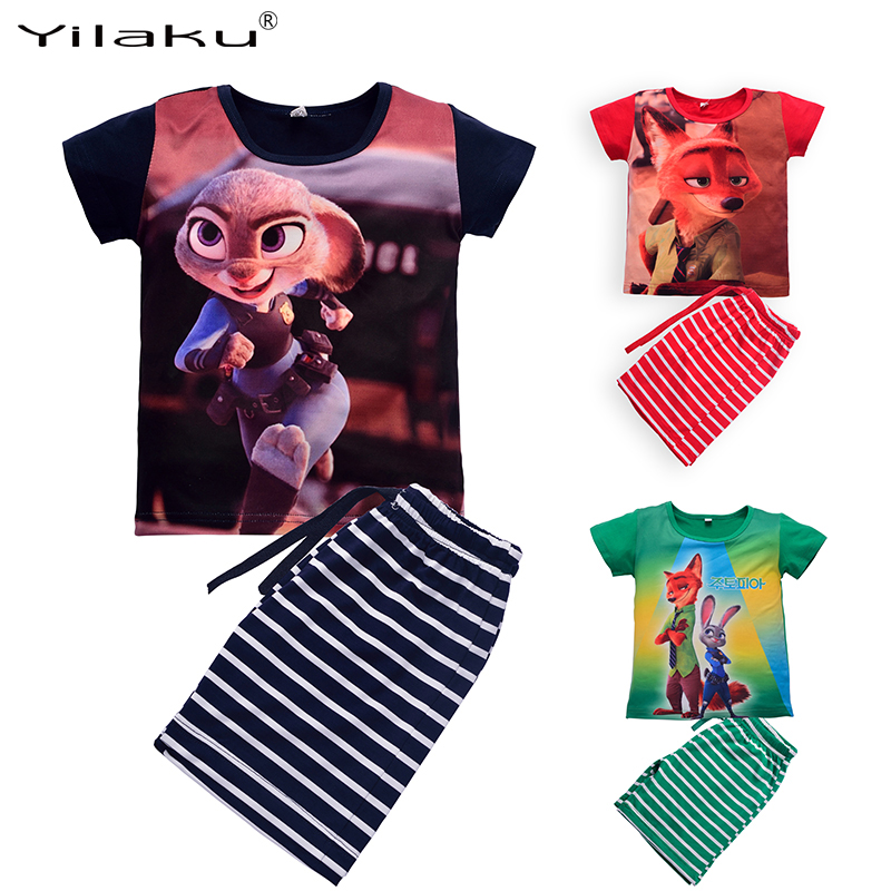 Summer Kids Clothes Set Boys Girls Cartoon Clothing Sets Children Short Sleeve T-shirt+Striped Pants Sport Suits 2~8 Years CF412