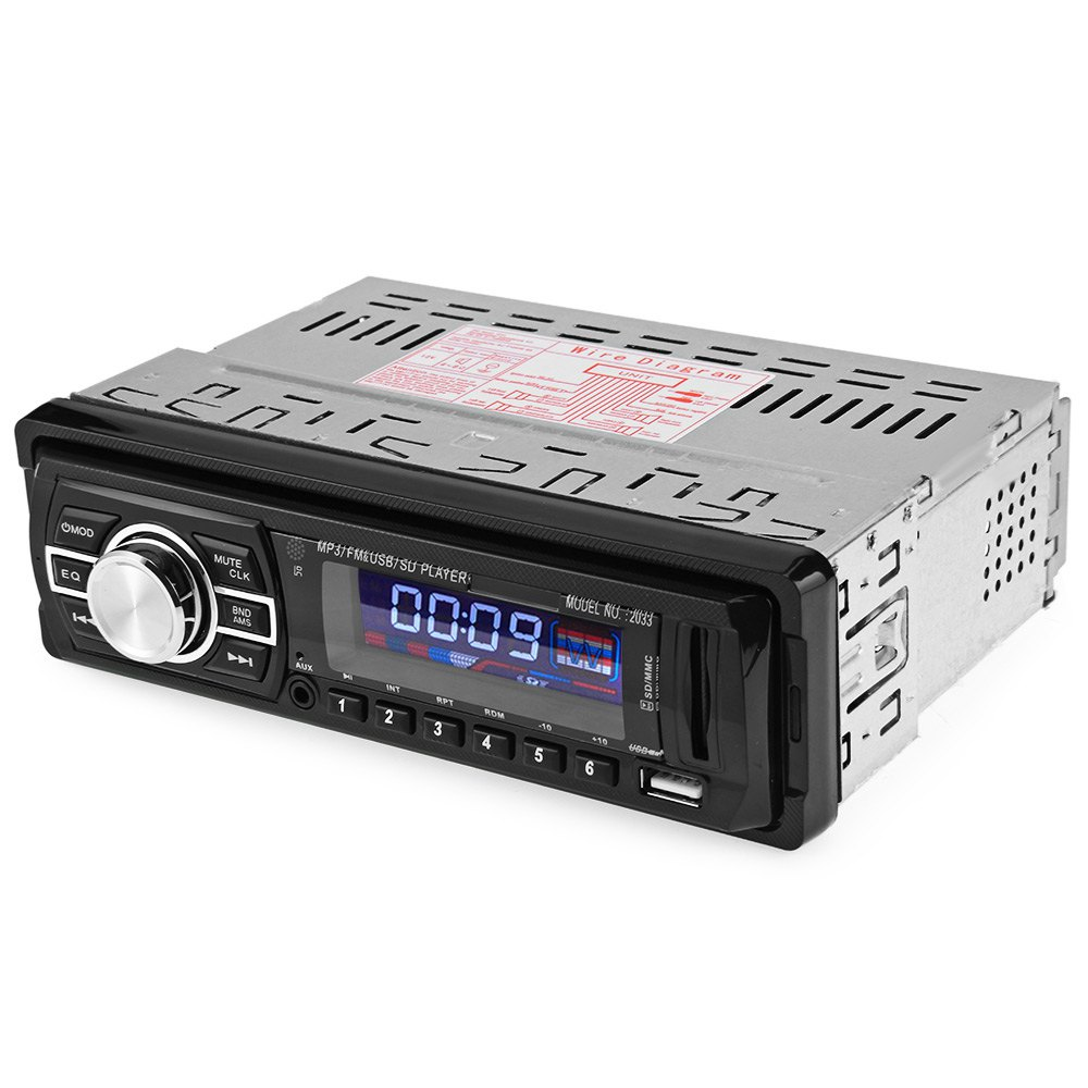 2033 Car Audio Stereo FM Radio 12V USB SD Mp3 Player AUX with Remote Control with LED / LCD Display Blue Color lllumination