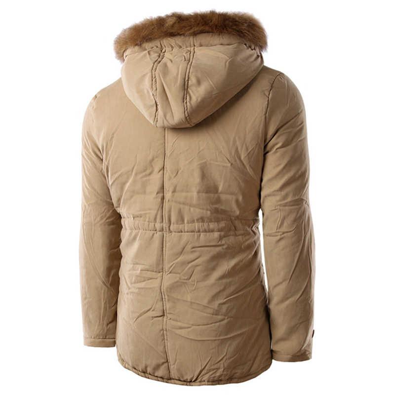 2018 新ファッションコートメンズ秋冬カジュアル長袖付き毛皮の襟のジャケットトップ服パーカー男性 roupas