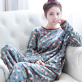 En el otoño y el invierno de la edición de han dulce coral polar cuello redondo de manga larga de franela pijamas de las mujeres ropa deportiva trajes