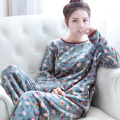 In the fall and winter of han edition sweet coral fleece pajamas sets women's round neck long sleeve flannel leisure wear suits