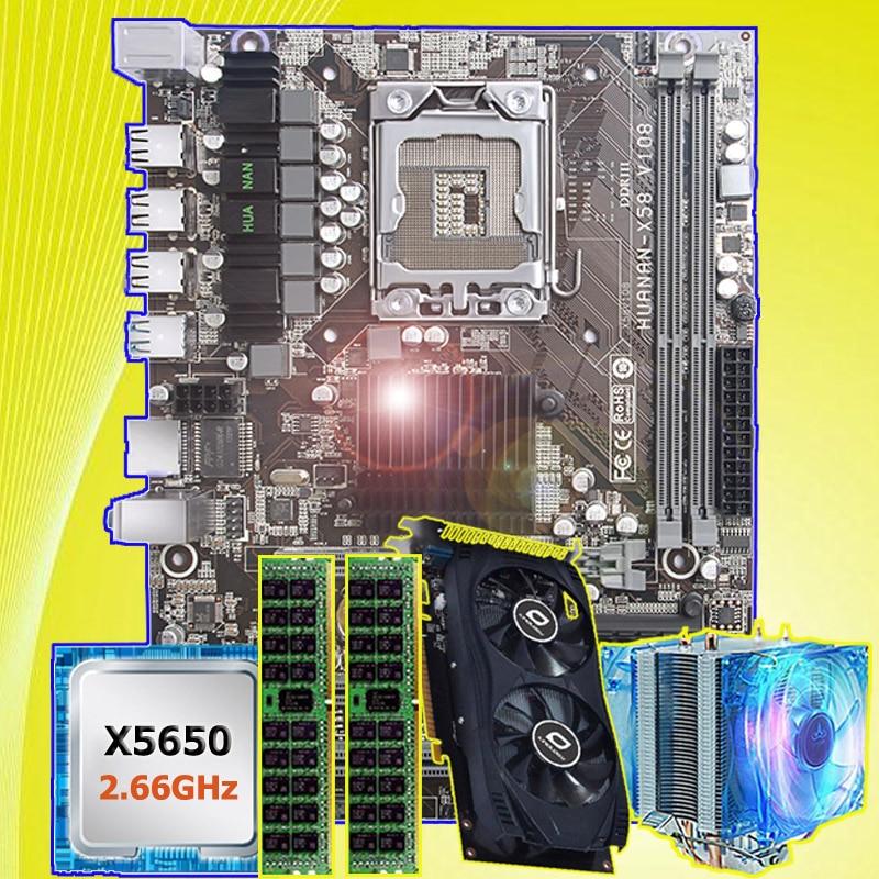 PC hardware abastecimento ZHI HUANAN X58 X5650 LGA1366 motherboard com CPU Intel Xeon 2.66 GHz RAM 8G REG ECC placa de vídeo GTX750Ti 2G