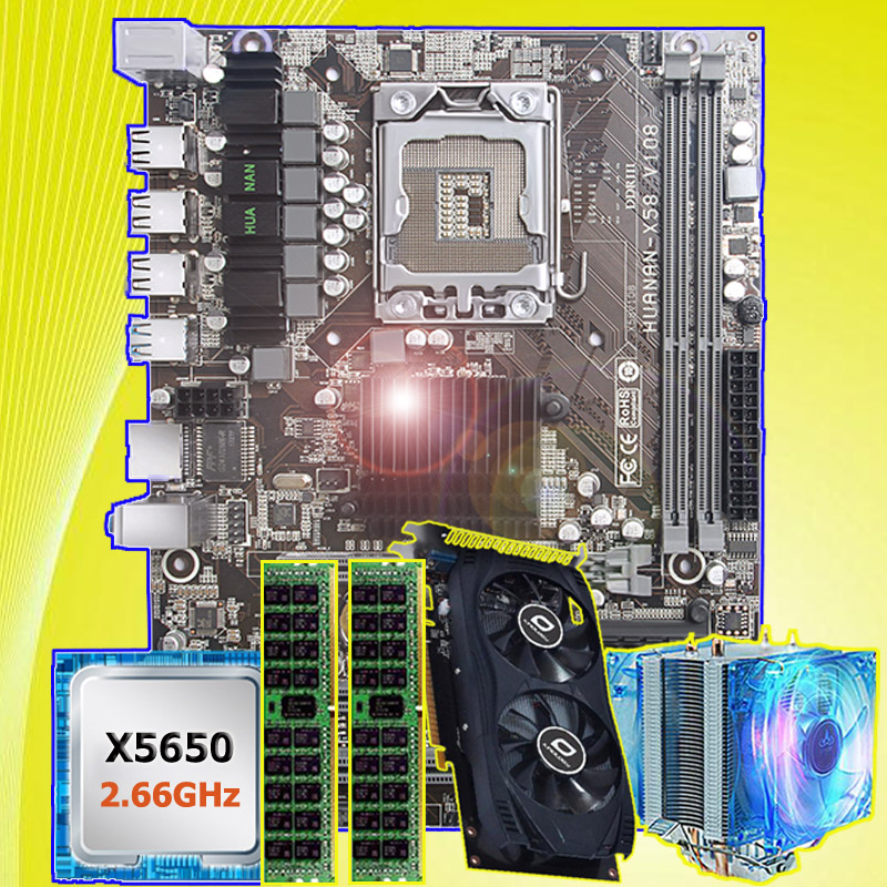 PC hardware supply HUANAN ZHI X58 LGA1366 motherboard with CPU Intel Xeon X5650 2.66GHz RAM 8G REG ECC video card <font><b>GTX750Ti</b></font> 2G image