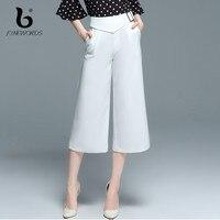 FINEWORDS OL Style Professional Business Formal White Elegant Wide Leg Pants Women Office Lady Work Wear