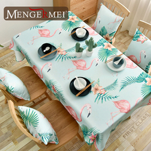 Flamingo Printed Tablecloth Cotton Linen Waterproof Table Cloth Polyester Nordic style Cover ZB10