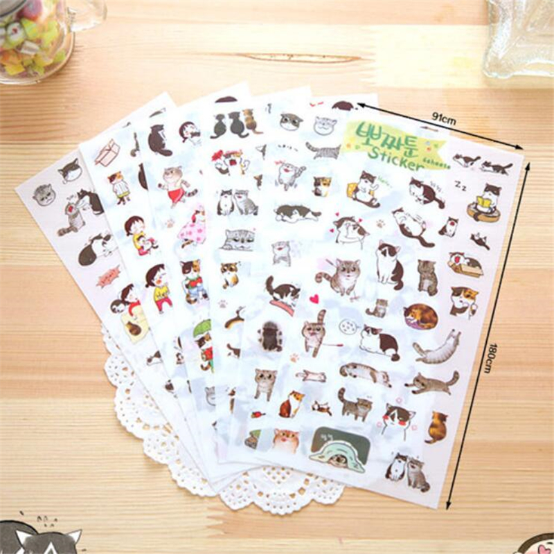 6 sheets/lot DIY Cute Cartoon Cat PVC Sticker Lovely Kawaii Girl Sticky Paper For Scrapbooking Diary Free Shipping 566 cute kawaii cartoon animal stickers creative fruit vegetables sticky paper for scrapbooking diary free shipping 994
