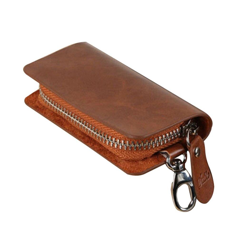 2020 Genuine Leather Car Key Wallets Men Key Holder Housekeeper Keys Organizer Wallet Women Keychain Covers Zipper Key Case Bag