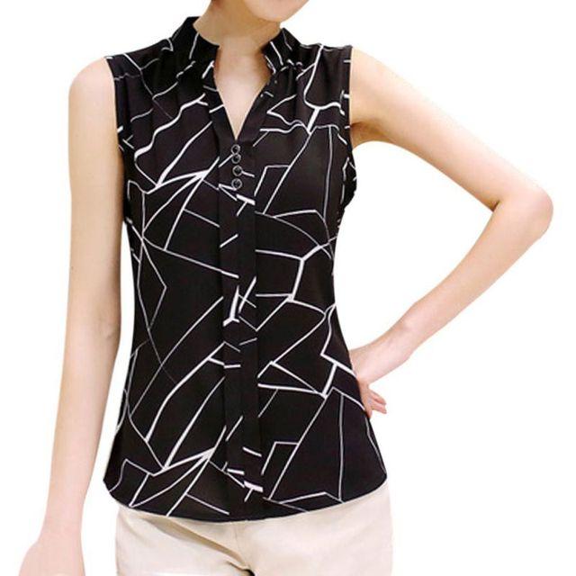 542c129a644 Women Chiffon Blouses Ladies Tops Female Sleeveless Shirt Blusas Femininas  White
