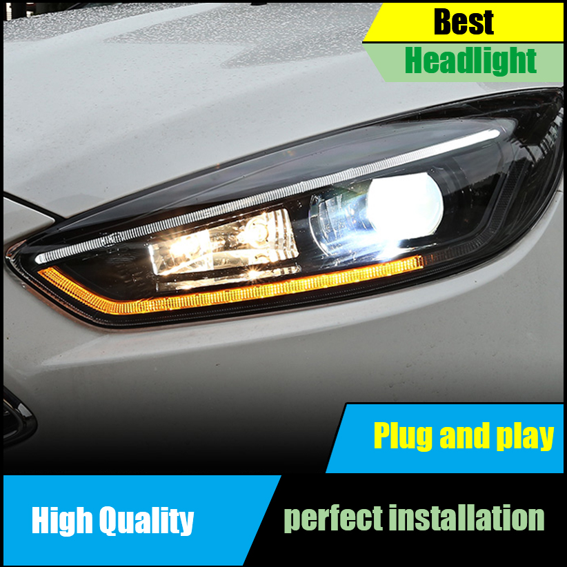 Car Head Lamp For Ford Focus Mk3 Headlight 2017 Headlights Led Drl Double Beam Lens Bi Xenon Moving Turn Signal Front Light