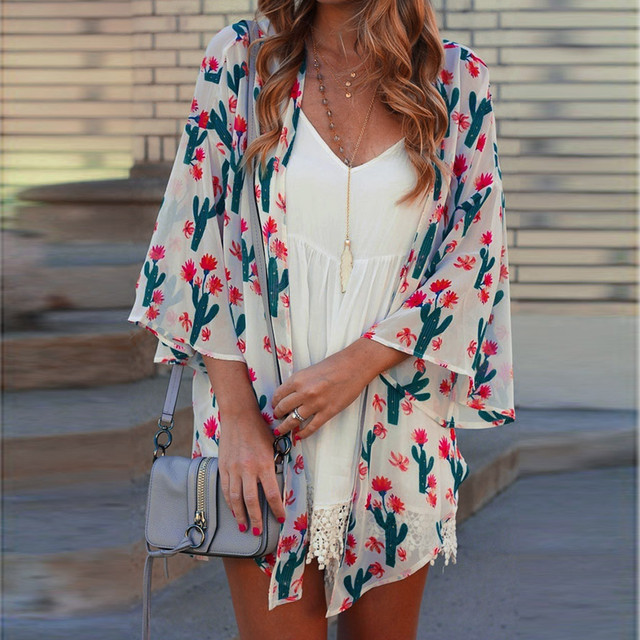 JAYCOSIN Blouses Women Loose Summer 19 Fashion Floral Print Flare Sleeve Half Sleeved Cardigan Tops plus size loose shirts 509