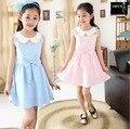 2016 a Venda de 2 Cores Crianças Meninas Vestido Bowknot Crianças vestidos de Azul Sem Mangas de Algodão Verão Crianças Roupas de Menina 5-15Year