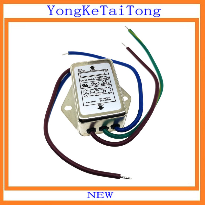 1PCS/LOT EMI Filter CW1B-06A-L 6A 115V 250V CW1B 50/60Hz