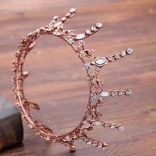 Vintage Baroque Round Crown Bridal Wedding Hair Accessories Crystal Rhinestone Big Hair Jewelry Wedding Pageant King Queen Tiara недорого