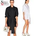 2017 Europeo Mujeres Tops Negro Blanco Largo Fajas de Manga Larga Camisa de la Blusa Elegante de Las Señoras de La Gasa Blusas Camisa chemise femme 1637
