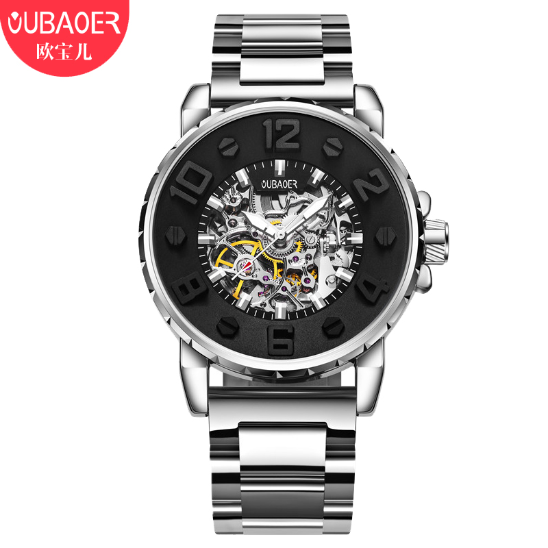OUBAOER Automatic Watch Military Mechanical Watch Men Luxury Men Watches Business Stainless Steel Male Clock Men Erkek Kol Saati oubaoer fashion top brand luxury men s watches men casual military business clock male clocks sport mechanical wrist watch men
